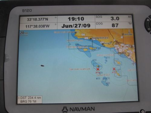 My chartplotter screen entering California waters.