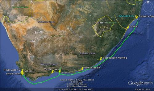 Planned route unless the winds chase me into a harbour along the way. Good paragliding at Kynsna