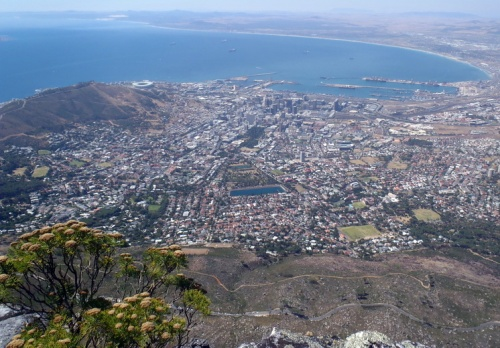 From Table Mountain, Cape Town, on a clear day. The main harbour.