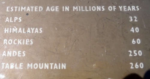 Table Mountain is an old chunk of fudge, seems like.