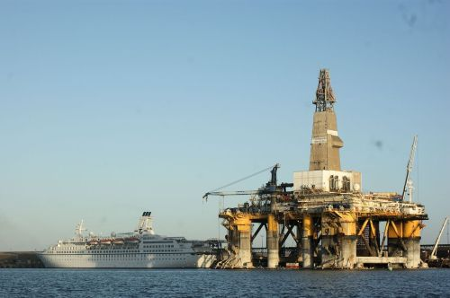 They dragged this used drilling platform down from Nigeria. This part of Africa used to be attached to Brazil and they have found a lot of offshore oil in Brazil recently, so the Brazilians are running this venture looking for the same oil deposits.