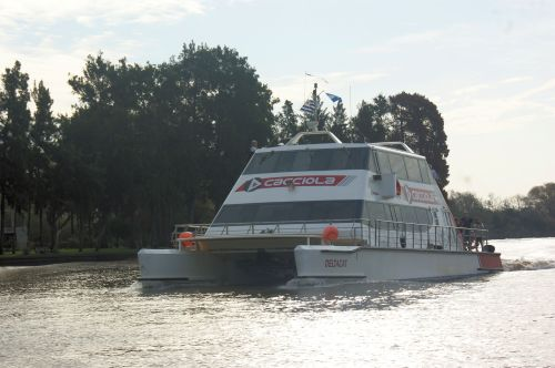 Modern ferry cross the Honda.