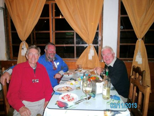 With Claus chowing down on great seafood, Iquique.